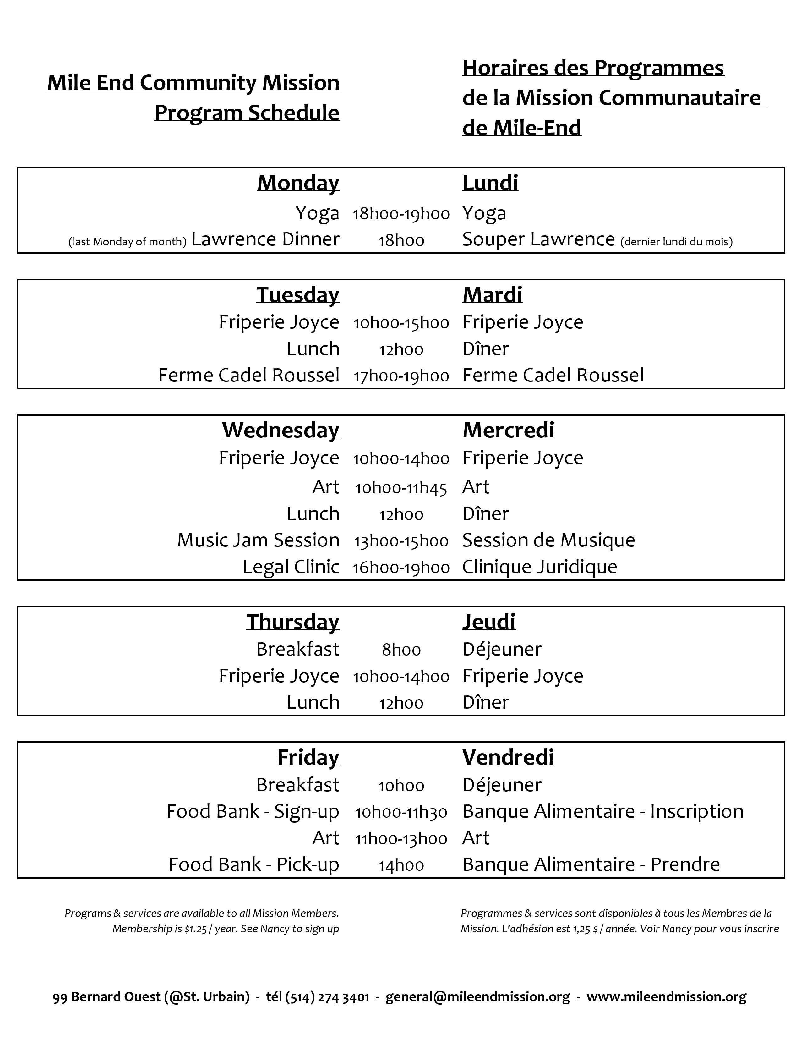 Mission Program Schedule 2016
